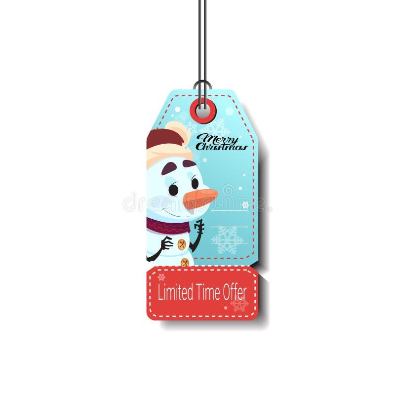 Etiqueta da venda do feriado de inverno com discontos do Natal do boneco de neve isolada ilustração stock
