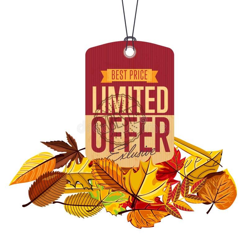 Etiqueta da venda do outono Oferta limitada ilustração stock