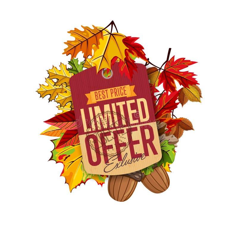 Etiqueta da venda do outono Oferta limitada ilustração royalty free