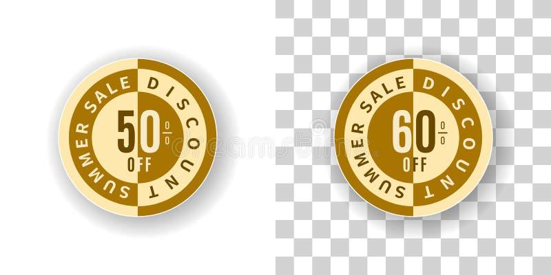 Etiqueta da venda do verão um disconto de 50 e 60 por cento na cor dourada ilustração stock