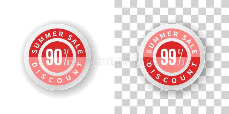 Etiqueta da venda do verão um disconto de 90 e 99 por cento na cor vermelha ilustração do vetor