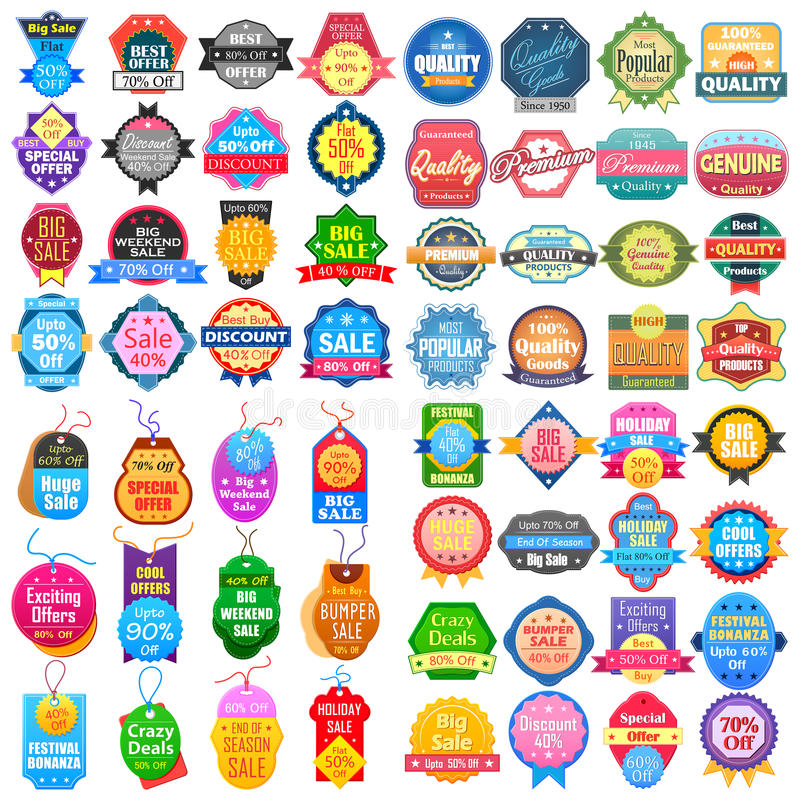 A etiqueta da venda e da promoção etiqueta a etiqueta para a propaganda ilustração stock