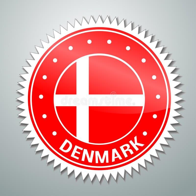 Etiqueta danesa de la bandera stock de ilustración