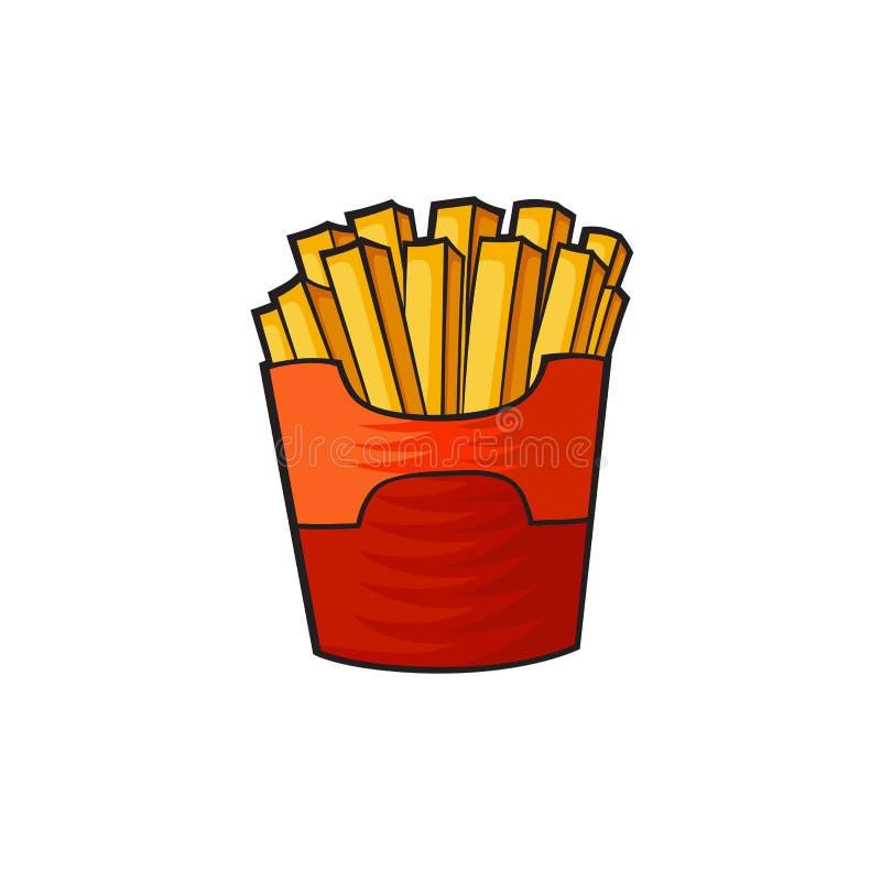 Etiqueta das batatas fritas do estilo do pop art ilustração do vetor