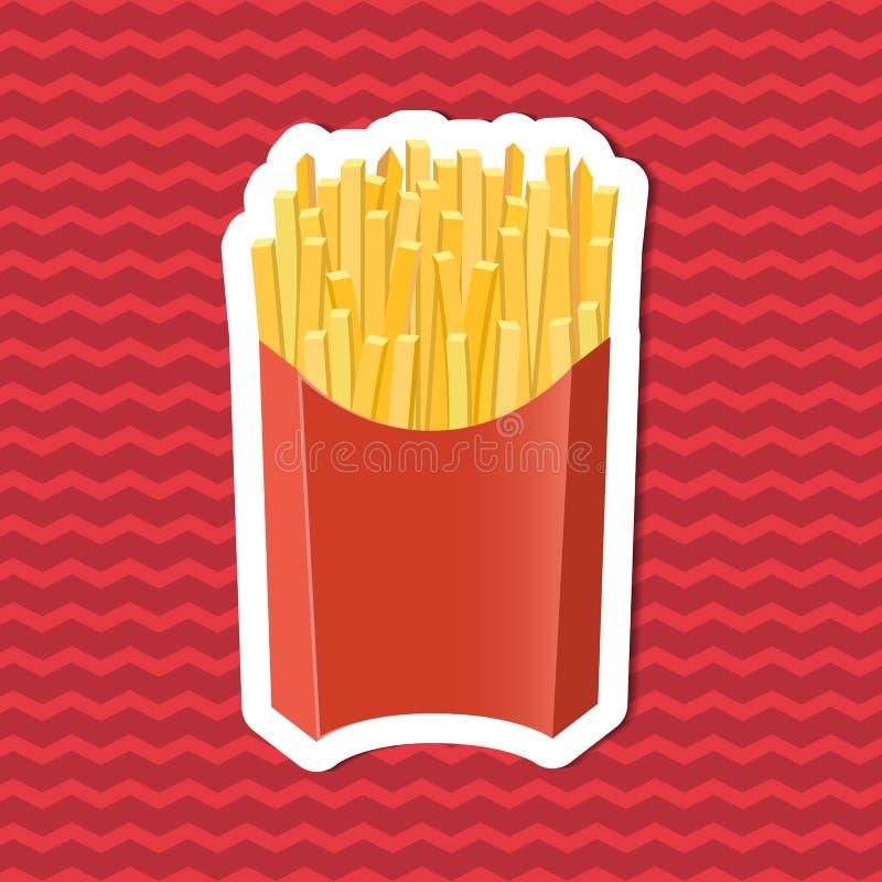 Etiqueta das batatas fritas na caixa de papel no fundo listrado vermelho Elementos do projeto gráfico para o menu, cartaz, folhet ilustração do vetor