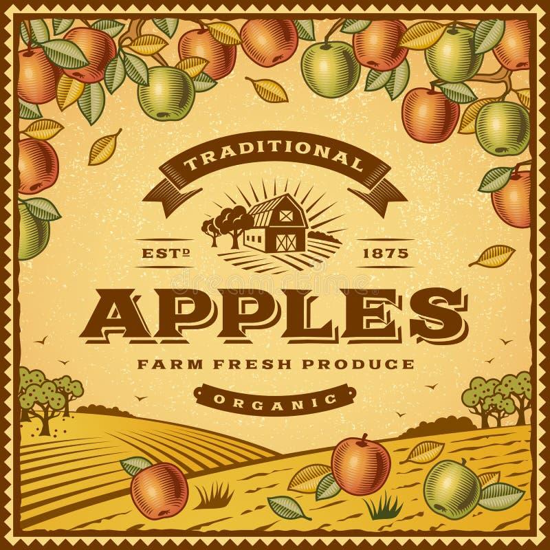 Etiqueta das maçãs do vintage ilustração royalty free