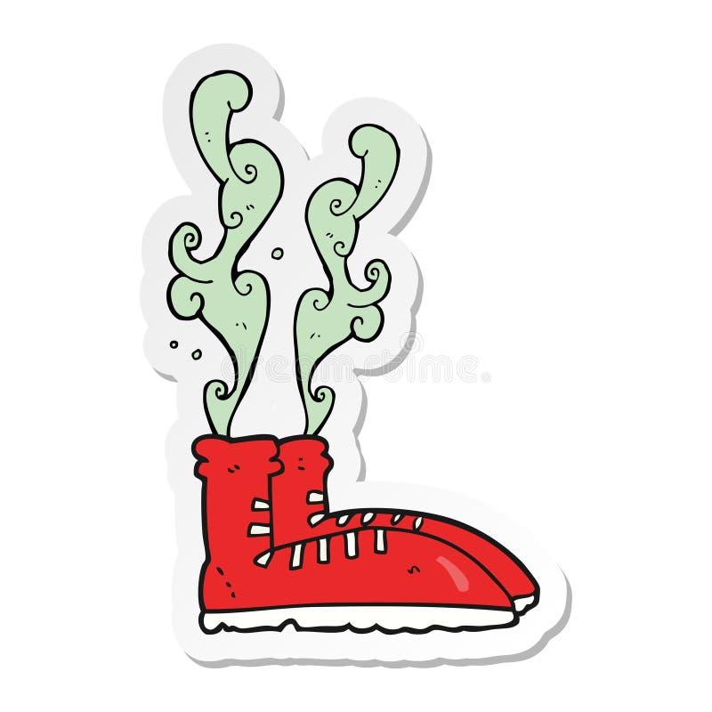 etiqueta das sapatilhas f?tidos de uns desenhos animados ilustração do vetor