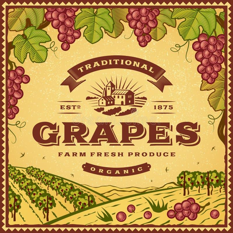 Etiqueta das uvas do vintage ilustração stock