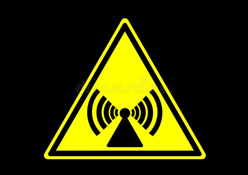 Etiqueta de advertência não de ionização dos sinais da área para a emergência ilustração do vetor
