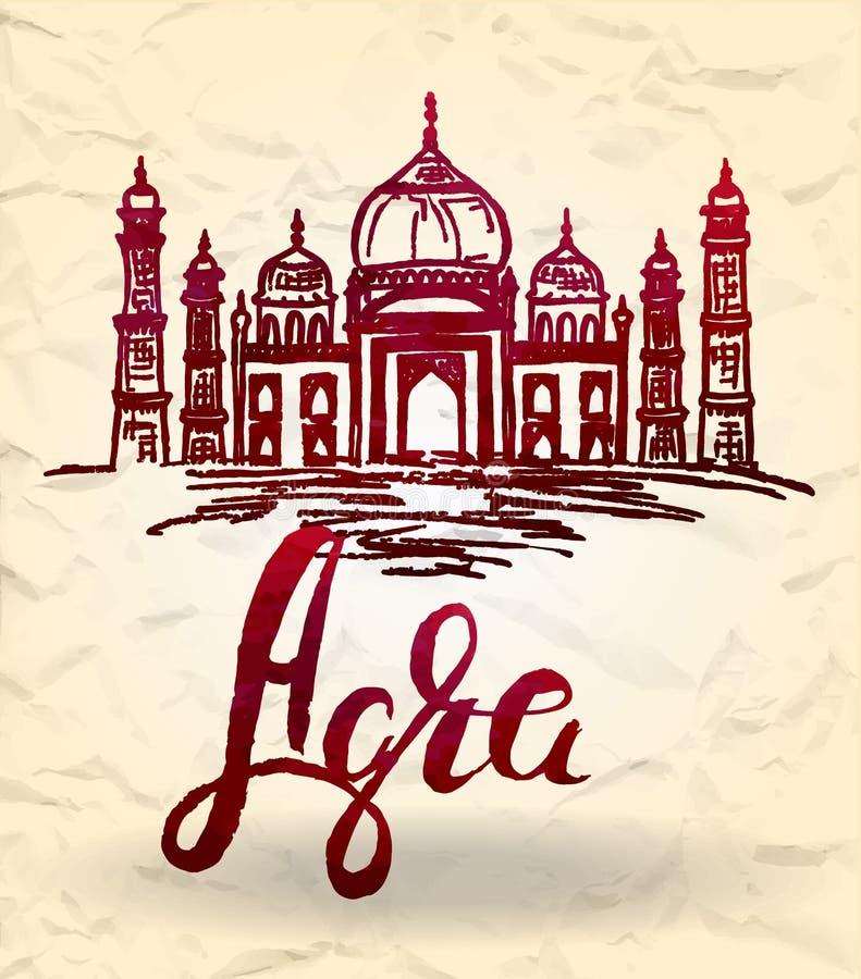 Etiqueta de Agra con la mano dibujada Taj Mahal, poniendo letras a Agra con el terraplén púrpura de la acuarela ilustración del vector