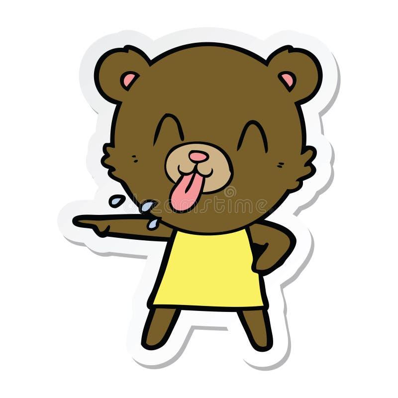 etiqueta de apontar rude do urso dos desenhos animados ilustração royalty free