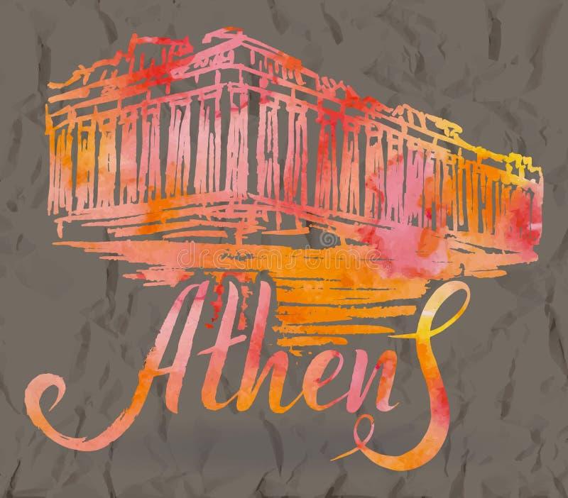 Etiqueta de Atenas con la acrópolis dibujada mano de Atenas, poniendo letras a Atenas con el terraplén de la acuarela stock de ilustración