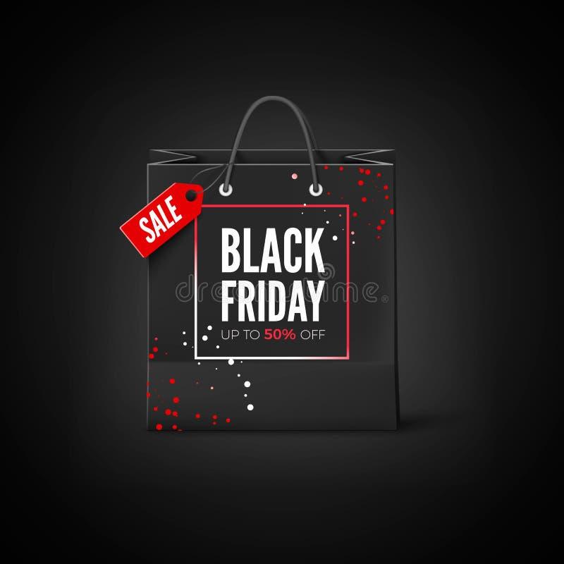 Etiqueta de Black Friday O saco preto com venda de etiqueta e o disconto oferecem Ilustração do vetor ilustração stock