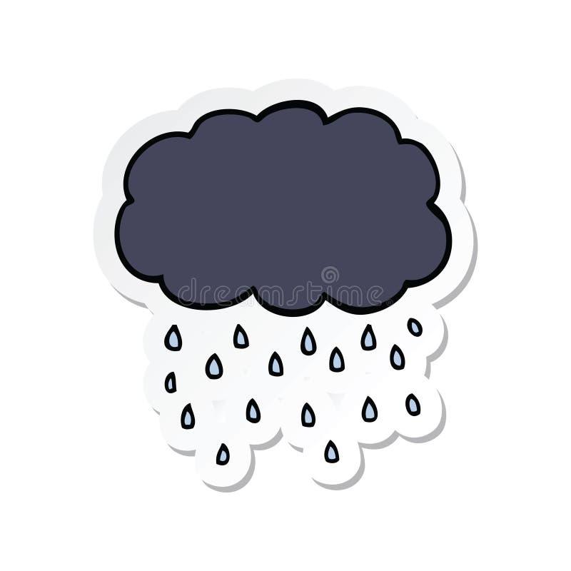 etiqueta de chover da nuvem dos desenhos animados ilustração royalty free