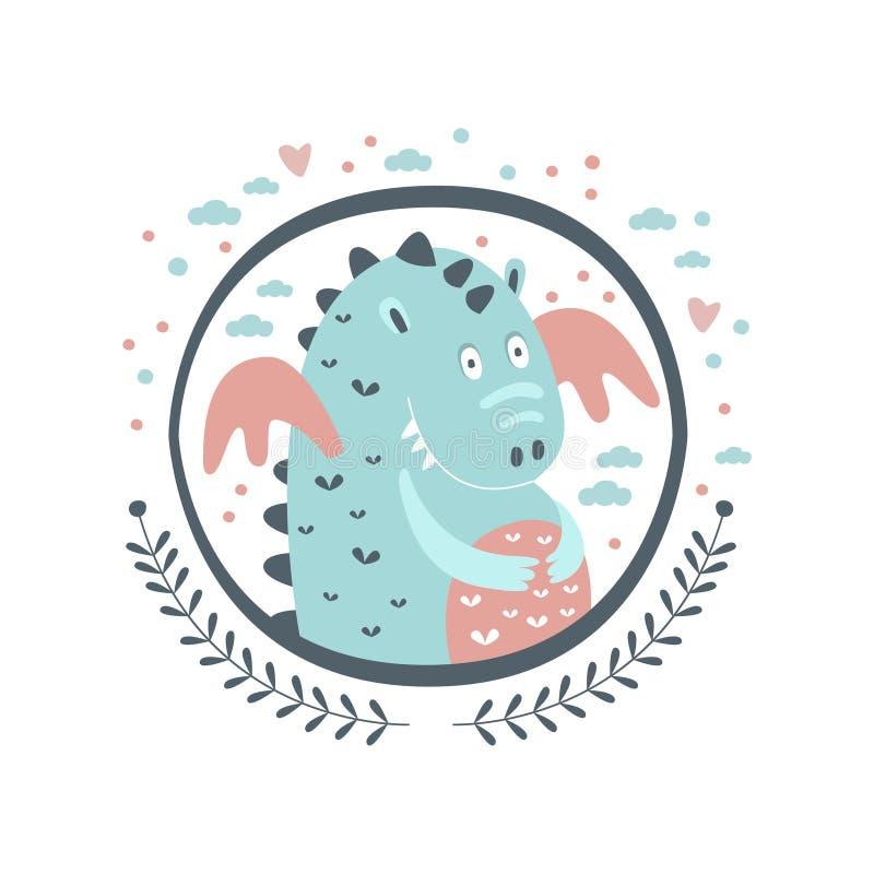 Etiqueta de Chubby Dragon Fairy Tale Character Girly no quadro redondo ilustração do vetor