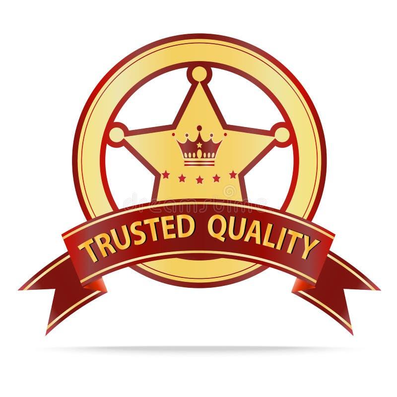 Etiqueta de confianza de la calidad del oro de lujo y de la cinta roja stock de ilustración