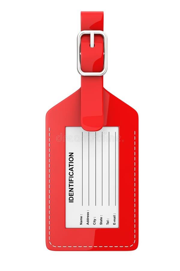 Etiqueta de couro vermelha da etiqueta da identificação da bagagem com nome, endereço, ilustração royalty free