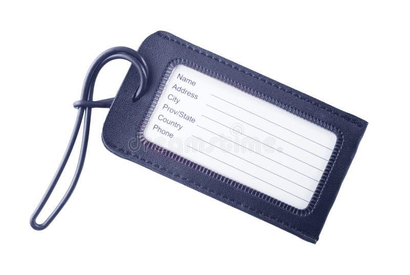 Etiqueta de cuero del equipaje aislada en blanco fotografía de archivo
