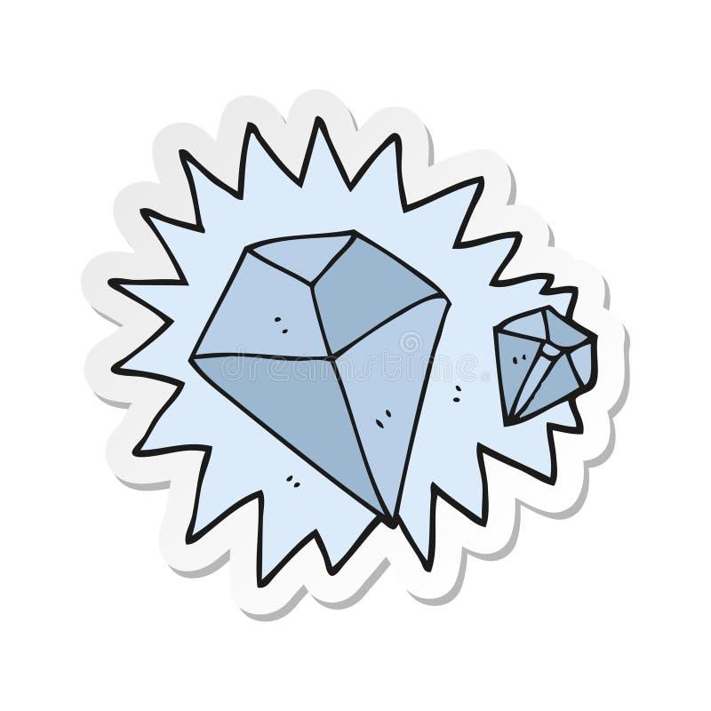 etiqueta de diamantes de uns desenhos animados ilustração do vetor