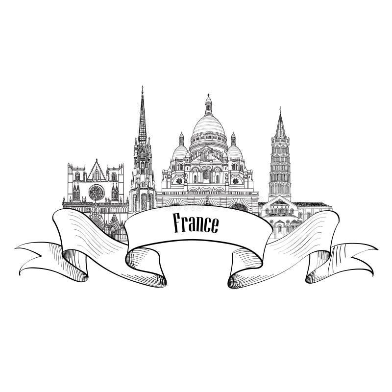 Etiqueta de Francia Señales arquitectónicas francesas famosas Franco de la visita stock de ilustración