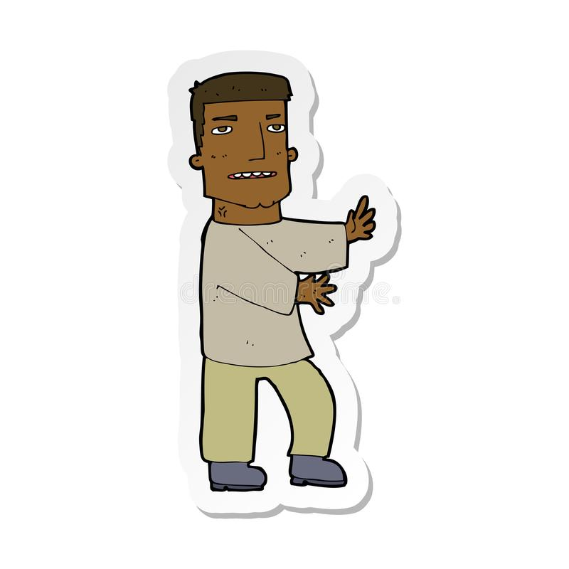 etiqueta de gesticular do homem dos desenhos animados ilustração royalty free