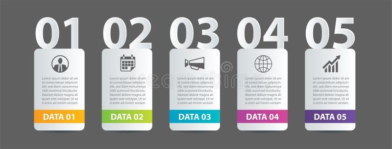 Etiqueta de Infographics en índice de papel horizontal con la plantilla del número de 5 datos Fondo del extracto del ejemplo del  ilustración del vector