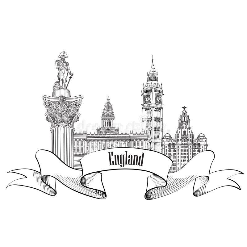 Etiqueta de Inglaterra Símbolo arquitectónico inglés famoso de las señales VI stock de ilustración