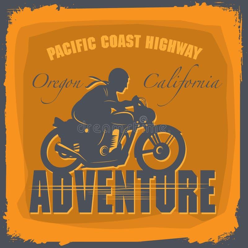 Etiqueta de la aventura de la motocicleta del vintage stock de ilustración