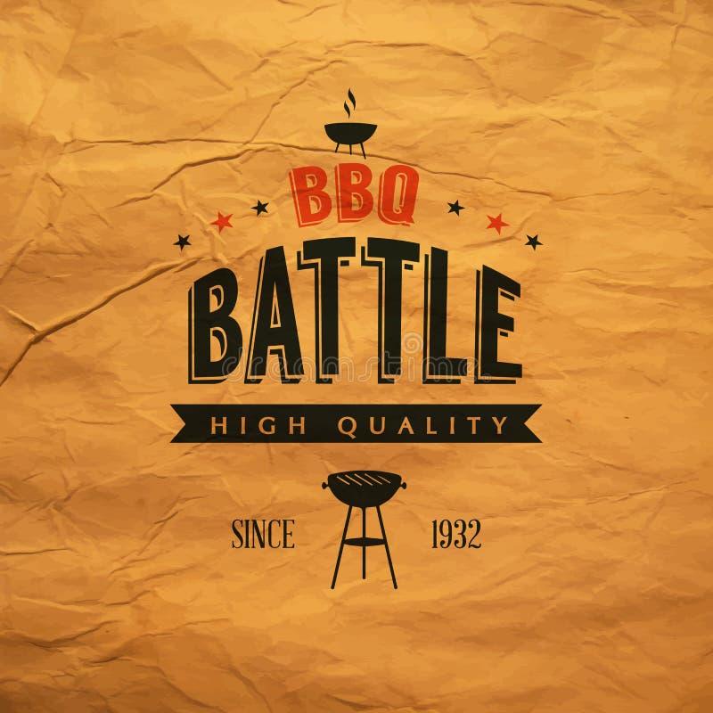 Etiqueta de la batalla del Bbq ilustración del vector