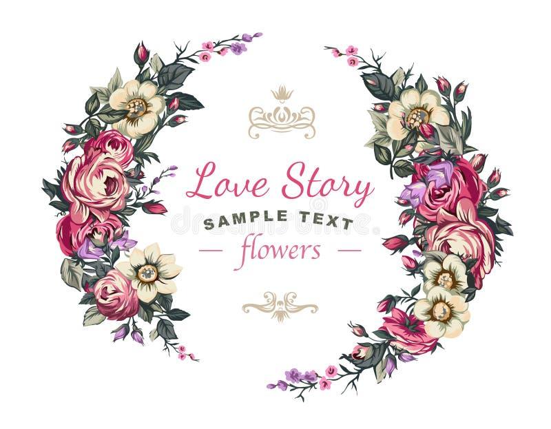 Etiqueta de la boda del vector con un marco integrado por flores detalladas stock de ilustración