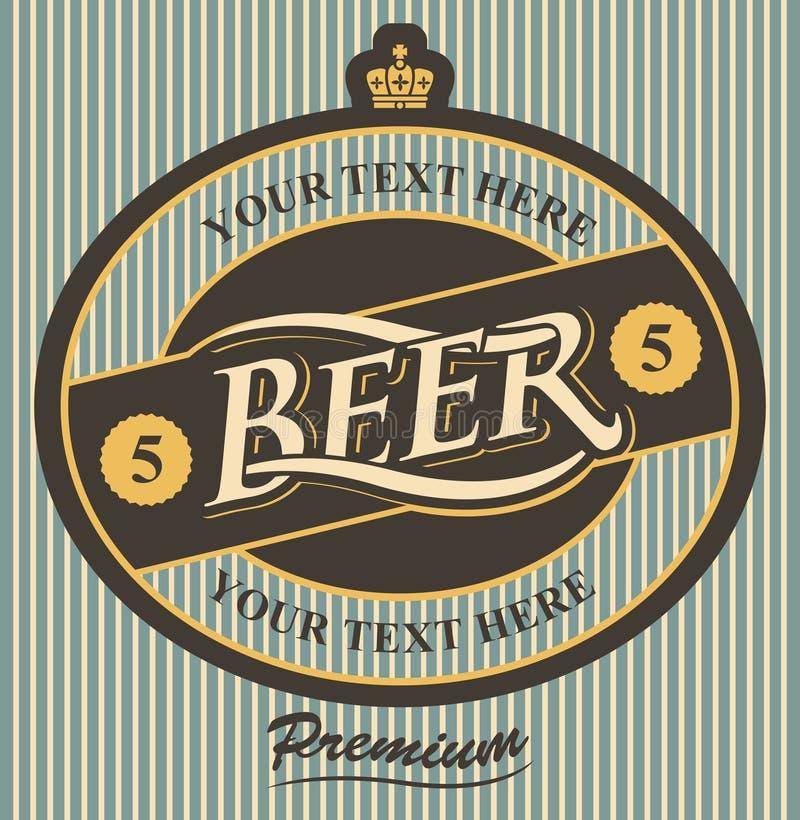 Etiqueta de la cerveza con la corona en estilo del vintage stock de ilustración