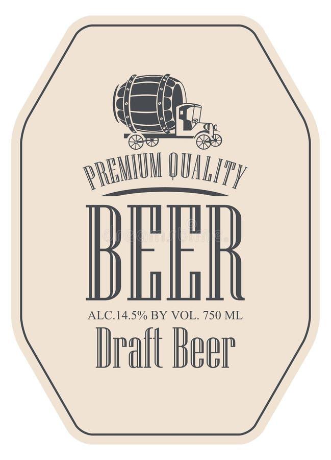 Etiqueta de la cerveza de barril del vector con el coche del camión libre illustration
