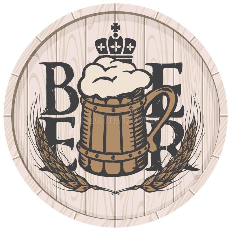 Etiqueta de la cerveza en el barril de madera con la taza de cerveza llena ilustración del vector