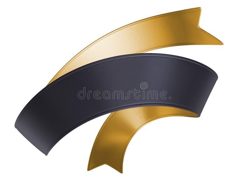 etiqueta de la cinta del negro del oro 3d aislada en el fondo blanco stock de ilustración