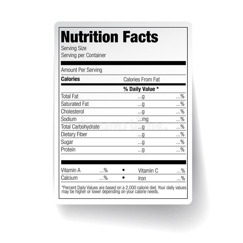 Etiqueta de la comida de los hechos de la nutrición ilustración del vector