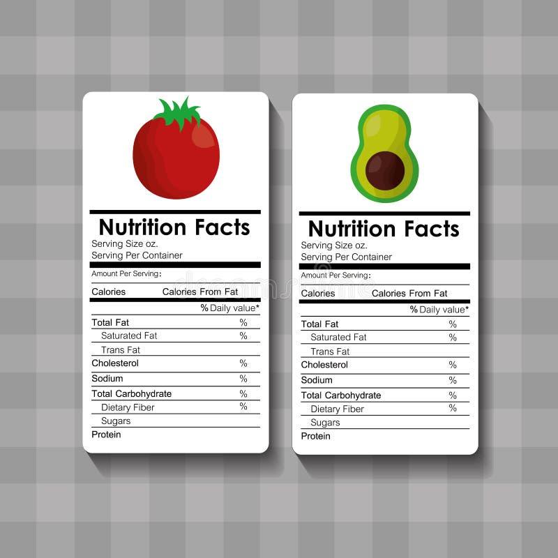 Etiqueta de la comida de los hechos de la nutrición del aguacate y del tomate ilustración del vector