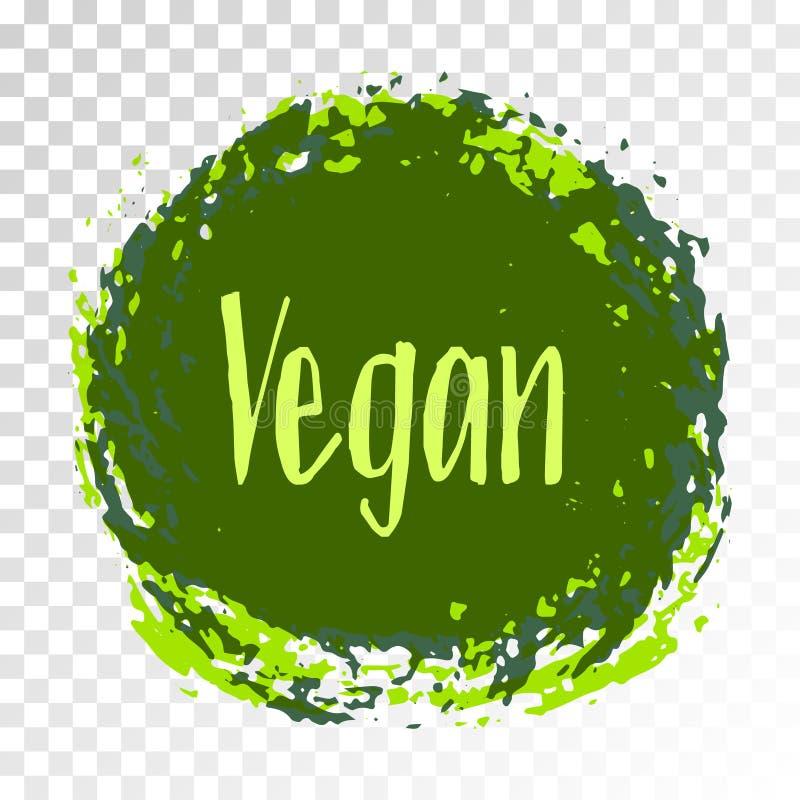 Etiqueta de la dieta del vegano, emblema pintado del logotipo libre illustration
