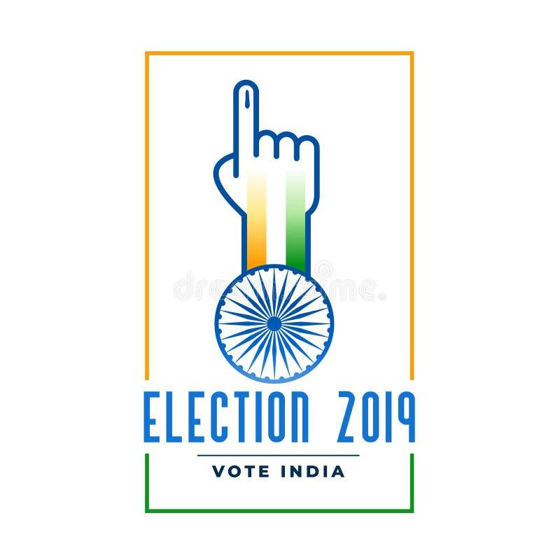 Etiqueta de la elección 2019 con la mano de votación ilustración del vector