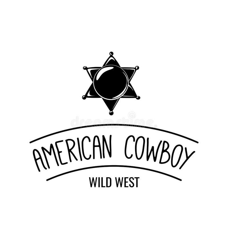 Etiqueta de la estrella de la insignia del sheriff Vaquero americano Wild West stock de ilustración