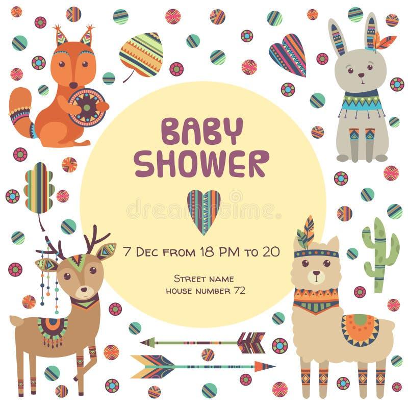 Etiqueta de la fiesta de bienvenida al bebé Pequeños ciervos y llama lindos étnicos de la ardilla de zorro de los animales con el stock de ilustración