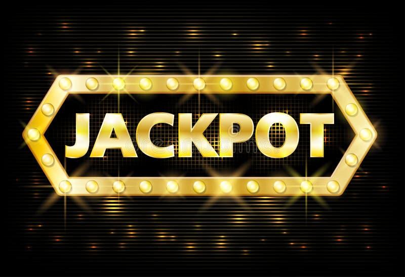Etiqueta de la loteria del casino del oro del bote con las lámparas que brillan intensamente en fondo negro Juego del diseño del  ilustración del vector