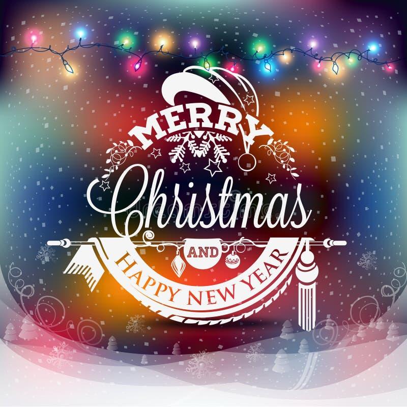 Etiqueta de la Navidad y del Año Nuevo con las luces coloreadas en fondos stock de ilustración
