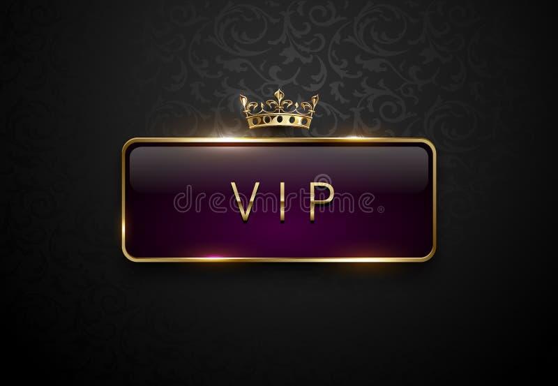 Etiqueta de la púrpura real del Vip con el marco de oro y corona en fondo negro del estampado de flores Plantilla superior oscura stock de ilustración