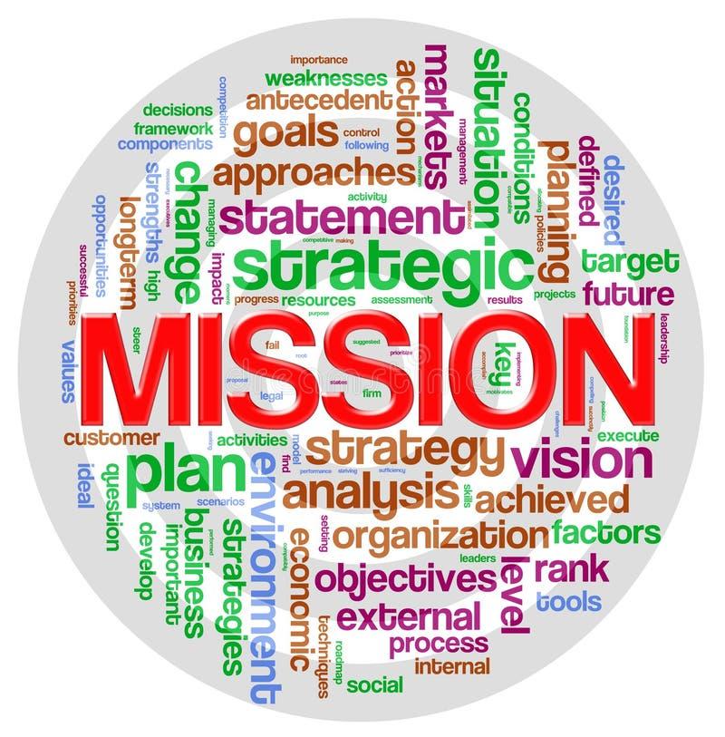 Etiqueta de la palabra de la misión stock de ilustración