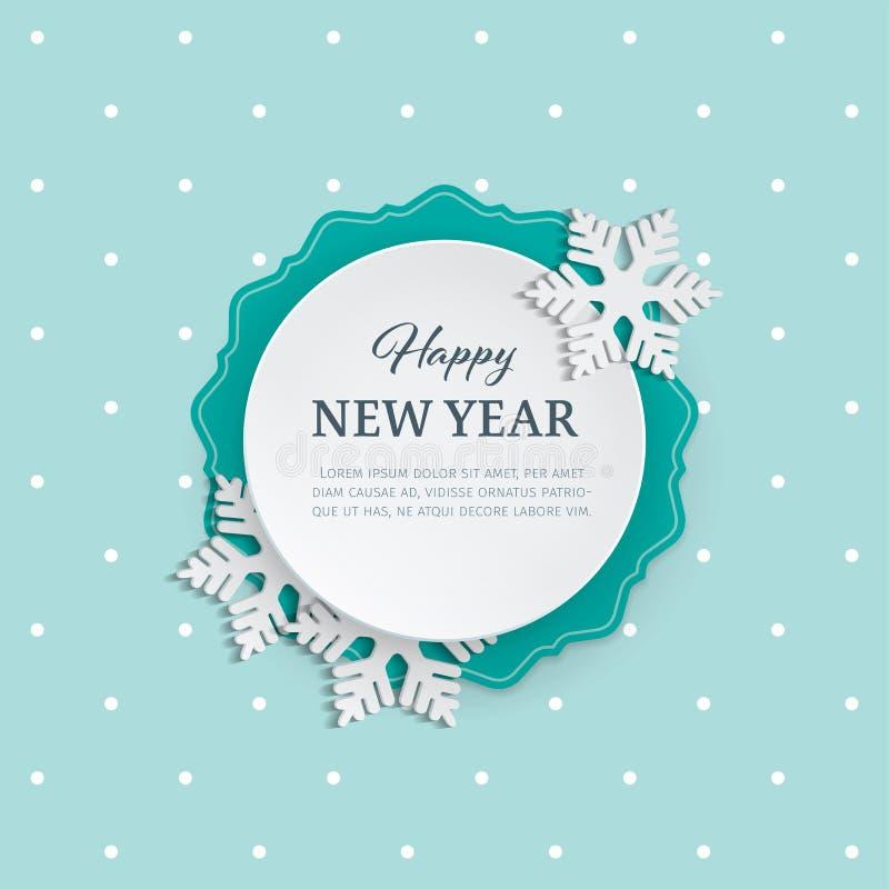 Etiqueta de la ronda de papel del recorte con el marco ornamental y copos de nieve 3d en el fondo del invierno con el modelo inco libre illustration