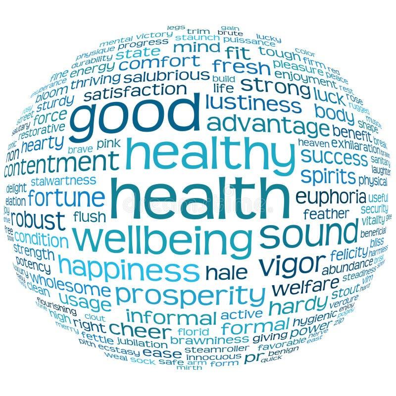 Etiqueta de la salud y del bienestar o nube de la palabra ilustración del vector