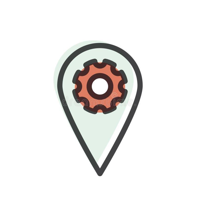 Etiqueta de la ubicación de Geo, márketing de la proximidad, conexión de red global, identificación de la ubicación libre illustration