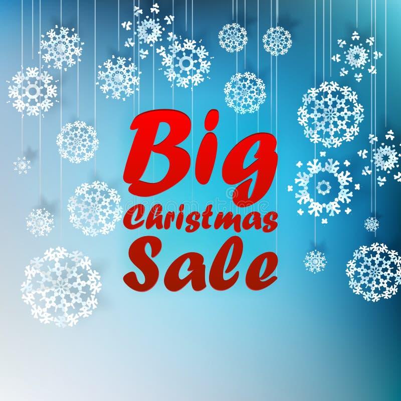 Etiqueta de la venta de la Navidad con las cintas. stock de ilustración