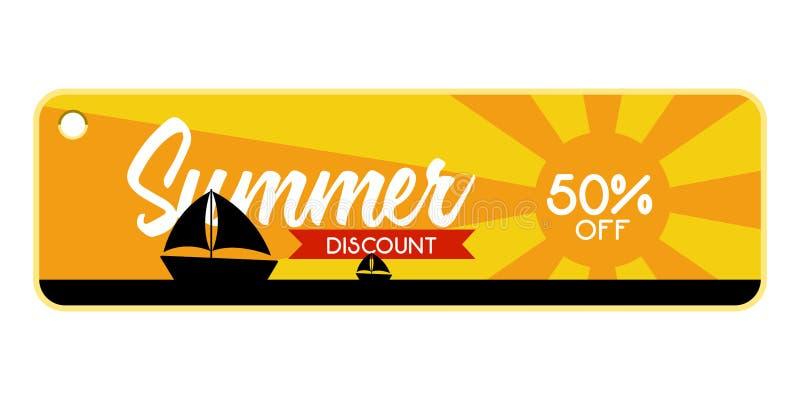 Etiqueta de la venta del verano con una nave en el mar ilustración del vector