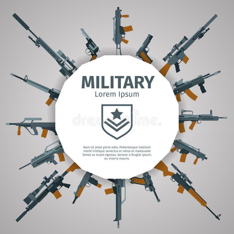 Etiqueta de las armas El vector dispara contra la insignia con el texto libre illustration